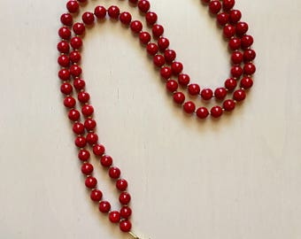 Red Riverstone Beaded Glass Arrowhead Necklace, Long Beaded Necklace