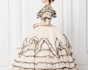 Wedding dress, Scarlett O'Hara style, 19th century