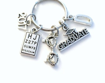 Optometrist Keychain, Graduation Gift for 2017 Optometry Ophthalmologist Key Chain Keyring men letter initial him Glasses Eye chart doctor
