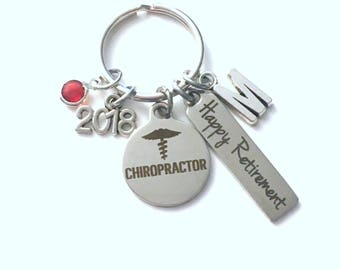 Chiropractor Retirement Present, 2018 Doctor Keychain, Gift for Women or Men Retire, Key Chain Keyring him her Personalized Custom 2017 Dr