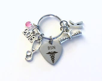Graduation Gift for BSN Keychain, 2017 or 2018 Bachelor of Science in Nursing Key chain Nurse Keyring for her women letter initial Scroll