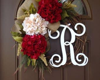 Fall Wreath - Front Door Wreath - All Season Wreath for Front Door - Year Round Decor - Front Door Decor - Hydrangea Wreath with Monogram
