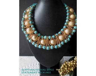 Statement Necklace * Egyptian Revival Style * Faux Turquoise * Gold Tone Chain Accent * Runway Collar Necklace