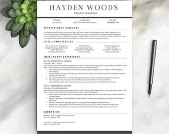 Resume Template For Word | 1 U0026 2 PageProfessional Resume Template, Cover  Letter | Instant  Resume Template With Photo