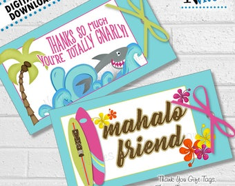 Surf Party Tags, Surf Thank You, Beach Party Favor Tags, Swim Thank You, Hawaiian Tags, Hawaiian Party Stickers, Hawaii Tags | PRINTABLE