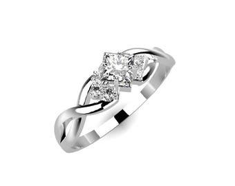 White Sapphire Engagement Ring White Gold Engagement Ring White Sapphire White Gold White Ring Gold White Sapphire Ring