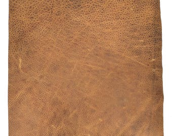 Distressed Brown Leather / Distressed Leather Fabric / Brown Distressed Leather Sheet / Leather Crafts / Leather Supply / 12 x 12