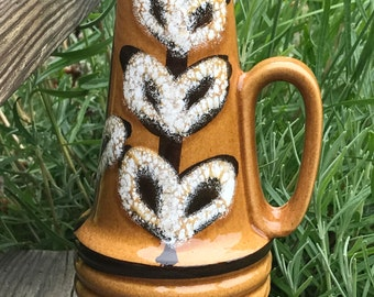 Retro German vase with handle /Scheurich / fat lava / leaves leaf brown white / West Germany / 70s