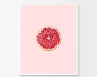 Pink Grapefruit Print, Fruit Print Pink Wall art Kitchen Print Minimalist Poster Blush Boho Home Decor Tropical Scandinavian Printable art