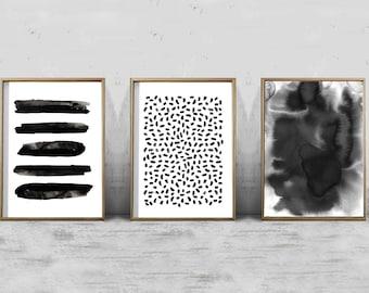 Abstract Watercolor Set of 3 Black White Stripes dots Paint Splatter Strokes Paintings Minimalist art Boho Decor Modern art Minimal Prints