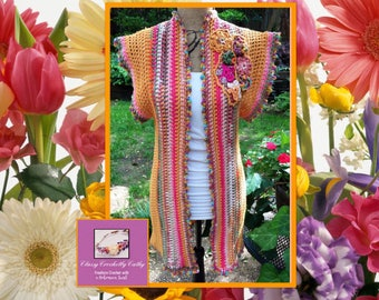 Women's Cardigan, Crochet Cardigan, Freeform Crochet, Crochet Top, Festival Top, Hippie Sweater, Knit Sweater, Summer Cardigan, Hand Knit