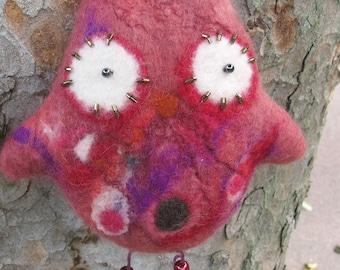 Felted wool pink owl, natural and hand made felt bird plush, pink owl soft sculpture