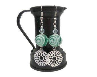 Silver pinwheel earrings modern green water Swarovski Crystal and glass beads