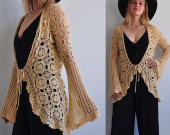 Vintage Crochet Swim Suit Cover Up // Cardigan Sweater // Bell Sleeve // Boho Bohemian Hippie Festival