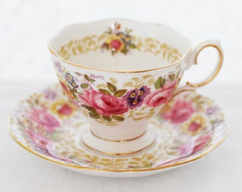 """Royal Albert 1940s """"Serena"""" duo teaset gorgeous pastel colored floral-scenery malvern shape, small"""