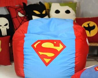 Superhero bean bag chair cover, Superman, Batman, Spiderman lounge chair, waterproof (main cover + inner liner, NO beans filling)