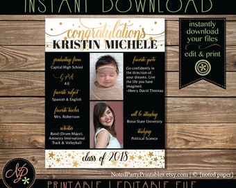 Personalized Graduation Poster, Custom Graduation Poster, 16x20 Graduation Gift, Graduation Party Decoration, Instant Download PDF File