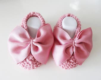 Pink wool baby - baby - baby booties shoes slippers