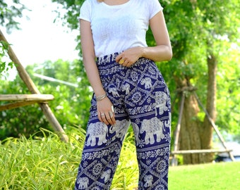 Harem pants elephant hippie boho cozy pants Dark Blue