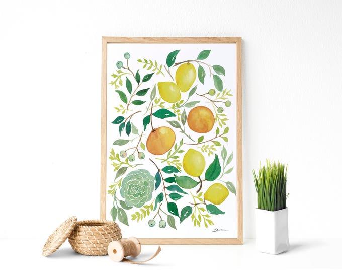 """Featured listing image: Lámina """"Limones y alcachofa"""" : Pintura en acuarelas ideal para decorar la cocina. Descarga instantánea."""
