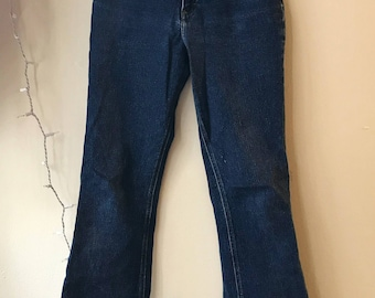 High waisted 90s bellbottom blue jeans