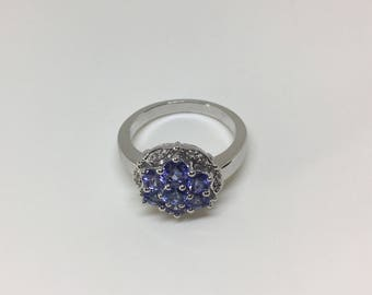 Sterling Silver Natural Tanzanite  (2.20 ct) Diamond Ring, Appraised 795 CAD