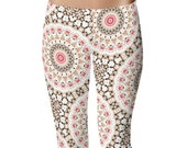 Bohemian Yoga Leggings, Brown and White Yoga Tights, Hippie Yoga Pants, Printed Mandala Leggings