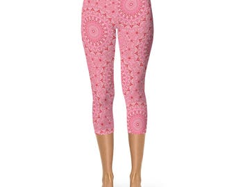Pink Capris Leggings - Printed Pink Yoga Pants for Women, Mandala Design Wearable Art Clothing
