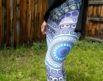 Aztec, Tribal Style Capris Leggings, Blue and Purple Mandala Art, Yoga, Festival Pants