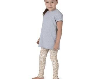 Cream Leggings for Girls, Boho Yoga Pants, Tan and White Kids Yoga Leggings, Children's Printed Leggings