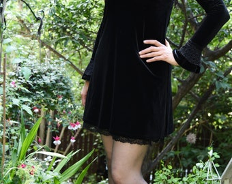 Vintage 1960s Black Velvet Dress with Bell Sleeves and Collar
