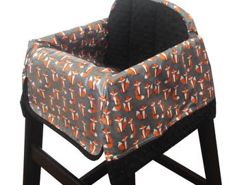 Woodland Foxes Restaurant High Chair Cover Rust Gray