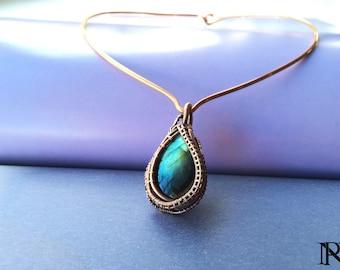 Wire wrapped copper pendant labradorite necklace unique jewelry choker necklace boho jewelry Copper jewelry