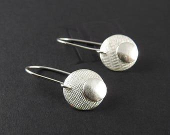 Artisan earrings Silver earrings  Silver dangles Gifts for her natural jewelry  Drop earrings Round earrings Disc earrings