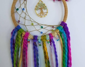 Small Colorful Tree of Life Crescent Dream Catcher/Wall Hanging