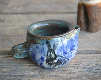 pottery shaving bowl  blue rabbit with foam warming compartment