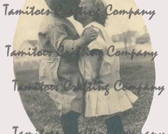 Vintage Photo of Boy and Girl Kissing circa 1914, 1915