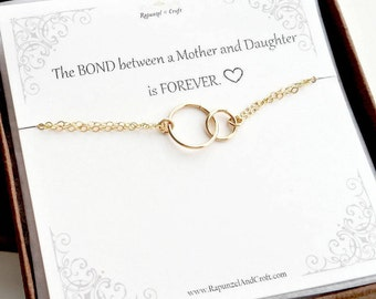 Infinity Bracelet | Gift For Mom | Linked Rings Bracelet | Circle Bracelet | Mother and Daughter | Christmas gift | Mother's day gift