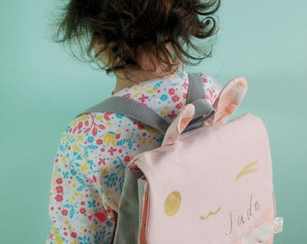 Personalized kids backpack, Bunny, home, accessory bag, initial name, birthday gift
