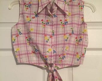 "Vintage 1950s Floral Crop Top with Tie Waist 36"" Bust"