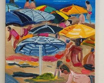 Original oil painting of a blue sea-painting of holiday makers on the beach, original oil of umbrellas of all colors