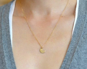 Crescent Moon Necklace, Small Moon Pendant Necklace, Gold Filled Crescent Moon Necklaces, Silver Crescent Moon Necklaces
