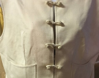 1980's Off-White Silk Vest Designed by Emanuel Ungaro Parallele Paris Collection Size: 10