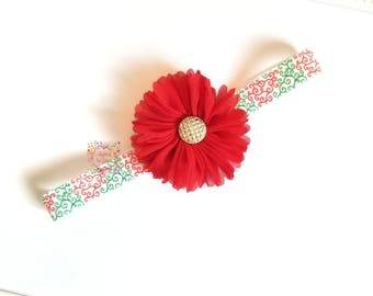Christmas Headband/Holiday Headband/Flower Headband/Red Flower Headband/Baby Holiday Headband/Toddler Holiday Headband/Christmas Bow