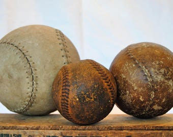 Set of Three Vintage Balls - Softballs and Baseball