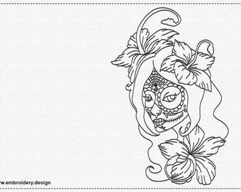 Girl with flowers embroidery design - downloadable - 3 sizes