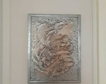 Highly textured Sculptural Painting Exotic Flower