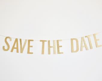Save The Date Banner - Engagement Banner, Wedding Banner, Glitter Banner
