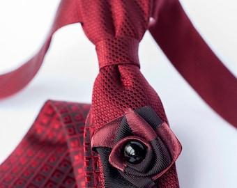 Slim Style Burgundy Necktie, Wedding Accessories, Ties for Men, Suit Accessories