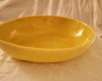 Vintage Yellow Speckled Oval Egg Shape Ceramic Serving Bowl